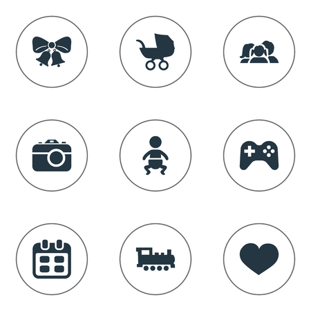 Vector Illustration Set Of Simple Celebration Icons. Elements Baby Carriage, Train, Infant And Other Synonyms Train, Resonate And Kid. Illustration