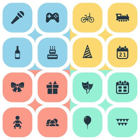 Vectorillustratiereeks Eenvoudige Vieringspictogrammen. Elementen Drank, fiets, masker en andere synoniemen Familie, geschenk en Cap.