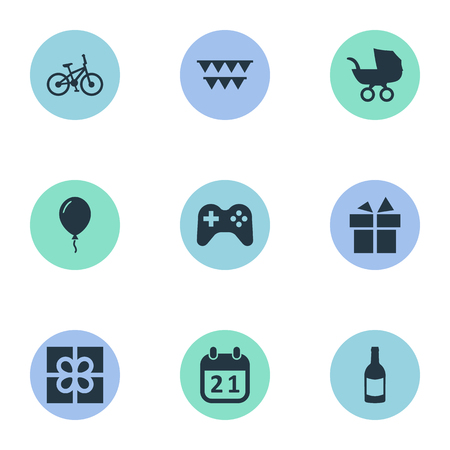 Vector Illustration Set Of Simple Celebration Icons. Elements Game, Beverage, Box And Other Synonyms Beverage, Prize And Flags.