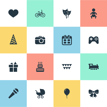 Vector Illustration Set Of Simple Celebration Icons. Elements Bicycle, Camera, Ribbon And Other Synonyms Schedule, Game And Ribbon.