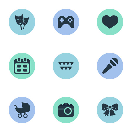 Vector Illustration Set Of Simple Birthday Icons. Elements Mask, Soul, Resonate And Other Synonyms Soul, Days And Carriage. Ilustração