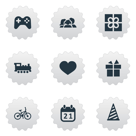 Vector Illustration Set Of Simple Birthday Icons. Elements Game, Bicycle, Box And Other Synonyms Locomotive, Feelings And Family.