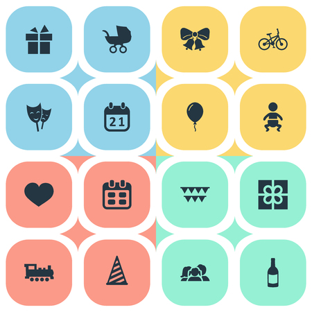 Vector Illustration Set Of Simple Holiday Icons. Elements Days, Aerostat, Decorations; And Other Synonyms Prize, Champagne And Resonate. Illustration