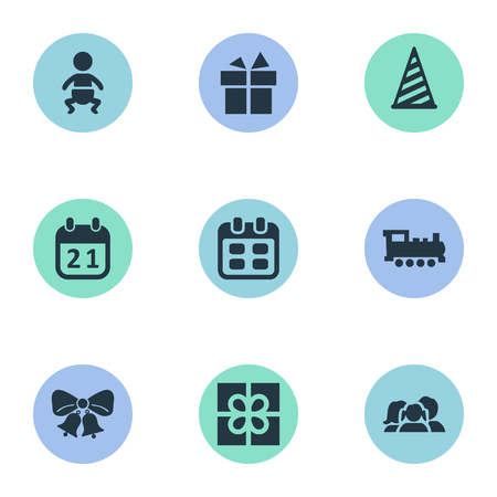 Vector Illustration Set Of Simple Birthday Icons. Elements Ribbon, Cap, Infant And Other Synonyms Bells, Hat And Train.