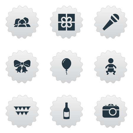 Vector Illustration Set Of Simple Celebration Icons. Elements Decorations;, Infant, Aerostat And Other Synonyms Infant, Balloon And Voice.