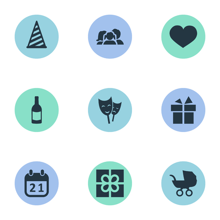 Vector Illustration Set Of Simple Celebration Icons. Elements Box, Domestic, Mask And Other Synonyms Family, Champagne And Gift.