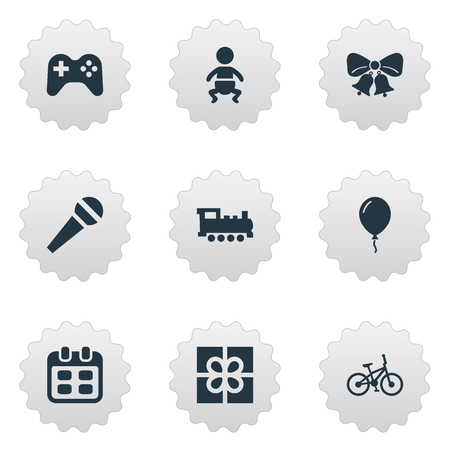 Vector Illustration Set Of Simple Celebration Icons. Elements Aerostat, Bicycle, Resonate And Other Synonyms Joystick, Bells And Game.