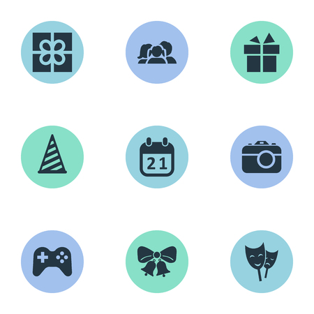 Vector Illustration Set Of Simple Celebration Icons. Elements Game, Mask, Camera And Other Synonyms Bells, Mask And Photo. Illustration