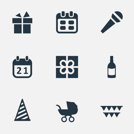 簡単な誕生日アイコンのベクター イラスト セット。要素の装飾、飲料、ボックス、他類義語歴史シャンパンとマイク。  イラスト・ベクター素材