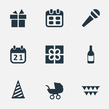 Vector Illustration Set Of Simple Birthday Icons. Elements Decorations;, Beverage, Box And Other Synonyms History, Champagne And Microphone.