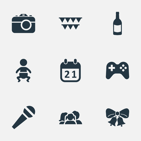 Vector Illustration Set Of Simple Celebration Icons. Elements Beverage, Camera, Game And Other Synonyms Photo, Flags And Kid.