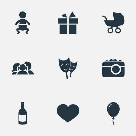 벡터 일러스트 레이 션 간단한 휴일 아이콘의 집합입니다. 요소 영혼, 유아, Aerostat 및 기타 동의어 선물, 아기 및 리본입니다.