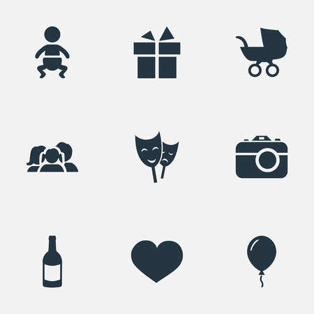 Vector Illustration Set Of Simple Holiday Icons. Elements Soul, Infant, Aerostat And Other Synonyms Gift, Baby And Ribbon.