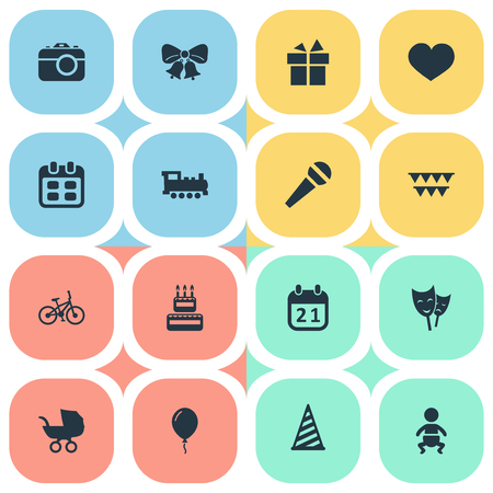 Vector Illustration Set Of Simple Holiday Icons. Elements Camera, Speech, Days And Other Synonyms Microphone, Balloon And Photography.