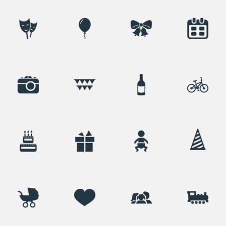 Vector Illustration Set Of Simple Holiday Icons. Elements Mask, Ribbon, Train And Other Synonyms Baby, Steam And Soul. Illustration