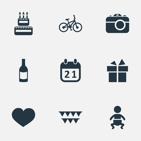 Vector Illustration Set Of Simple Holiday Icons. Elements Camera, Infant, Soul And Other Synonyms Infant, Cake And History.