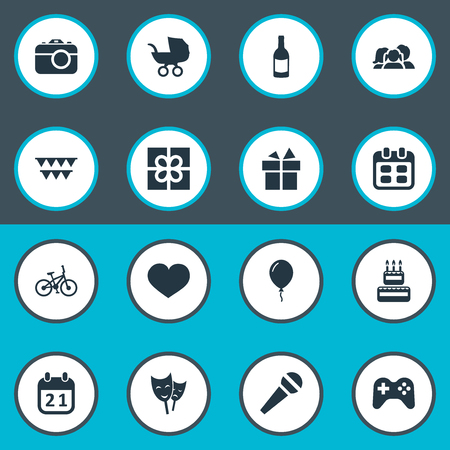 Vector Illustration Set Of Simple Birthday Icons. Elements Game, Confectionery, Box And Other Synonyms Stroller, Camera And Schedule.