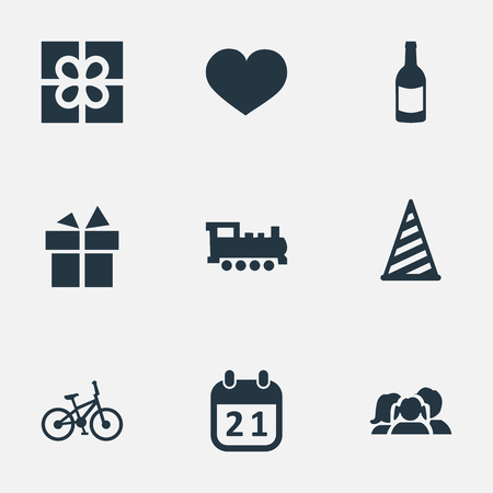 Vector Illustration Set Of Simple Celebration Icons. Elements Cap, Bicycle, Special Day And Other Synonyms Prize, History And Soul. Ilustração