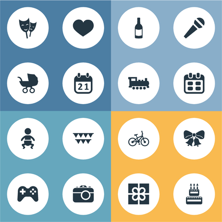 Vector Illustration Set Of Simple Celebration Icons. Elements Train, Soul, Resonate And Other Synonyms Jingle, Champagne And History.