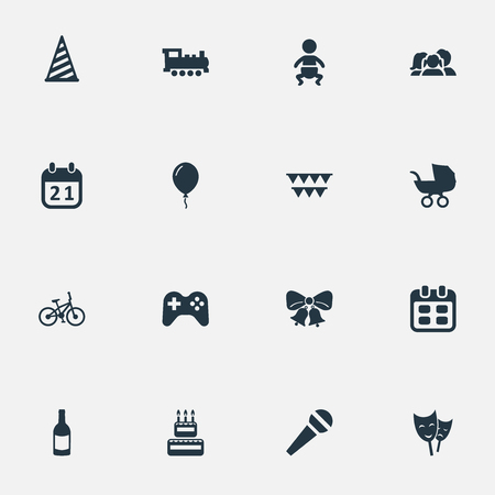 Vector Illustration Set Of Simple Celebration Icons. Elements Special Day, Speech, Days And Other Synonyms Bicycle, Domestic And Day. Ilustrace