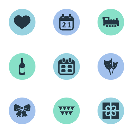 Vector Illustration Set Of Simple Birthday Icons. Elements Special Day, Resonate, Mask And Other Synonyms Schedule, Calendar And Mask.