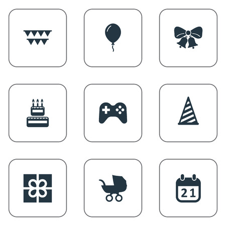 hang up: Vector Illustration Set Of Simple Birthday Icons. Elements Special Day, Aerostat, Box And Other Synonyms Play, Balloon And Joystick.