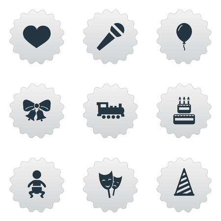 Vector Illustration Set Of Simple Holiday Icons. Elements Confectionery, Train, Speech And Other Synonyms Soul, Mask And Cake.