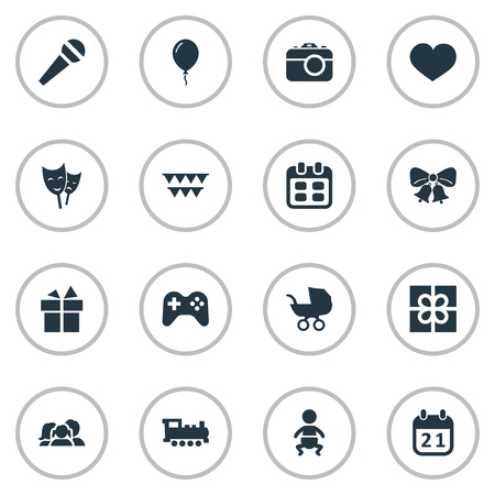 Vector illustratie Set van eenvoudige verjaardag iconen. Elementen lint, spel, dagen en andere synoniemen trein, prijs en camera. Stockfoto - 77792291