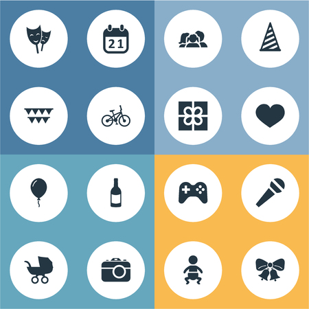Vector Illustration Set Of Simple Birthday Icons. Elements Mask, Bicycle, Aerostat And Other Synonyms Resonate, Camera And Speech.