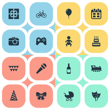 Vector Illustration Set Of Simple Celebration Icons. Elements Decorations;, Speech, Mask And Other Synonyms Infant, Schedule And Game.