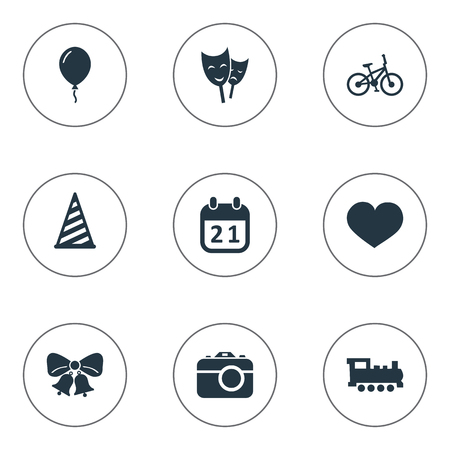 Vector Illustration Set Of Simple Birthday Icons. Elements Resonate, Cap, Camera And Other Synonyms Locomotive, Bicycle And Mask.