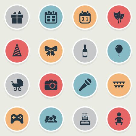 Vector Illustration Set d'icônes de vacances simples. Éléments Aerostat, domestique, journée spéciale et d'autres synonymes photo, acteur et cap. Banque d'images - 77792297