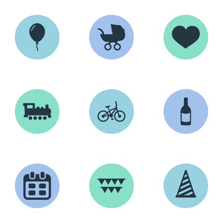 Vector Illustration Set Of Simple Holiday Icons. Elements Cap, Soul, Train And Other Synonyms Bicycle, Feelings And Sky.