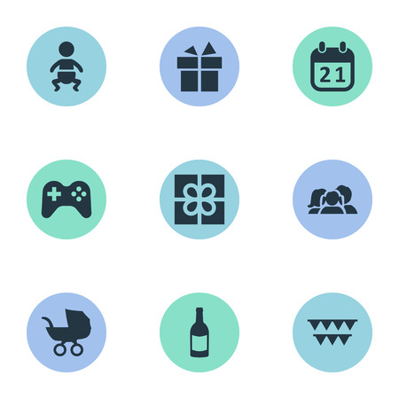 Vector Illustration Set Of Simple Celebration Icons. Elements Box, Beverage, Special Day And Other Synonyms Flags, Gift And Family.