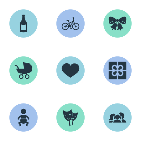 Vector Illustration Set Of Simple Celebration Icons. Elements Domestic, Box, Baby Carriage And Other Synonyms Mask, Heart And Family.