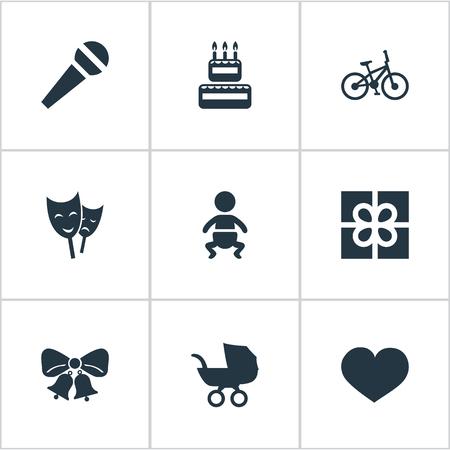 単純な休日のアイコンのベクトル イラスト セット。要素の共鳴、ボックス、お菓子、他類義語音声菓子と鐘。