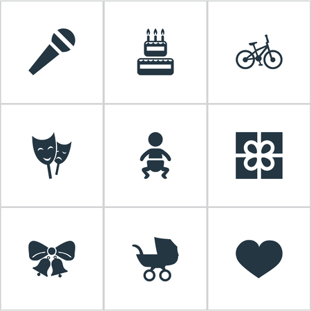 Vector Illustration Set Of Simple Holiday Icons. Elements Resonate, Box, Confectionery And Other Synonyms Speech, Confectionery And Bells.