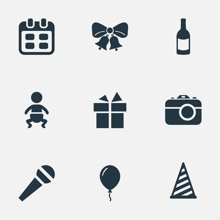 Vector Illustration Set Of Simple Holiday Icons. Elements Aerostat, Speech, Camera And Other Synonyms Ribbon, Infant And Microphone. Illustration