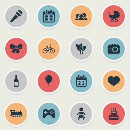 Vector Illustration Set Of Simple Holiday Icons. Elements Beverage, Infant, Resonate And Other Synonyms Balloon, Feelings And Photography.