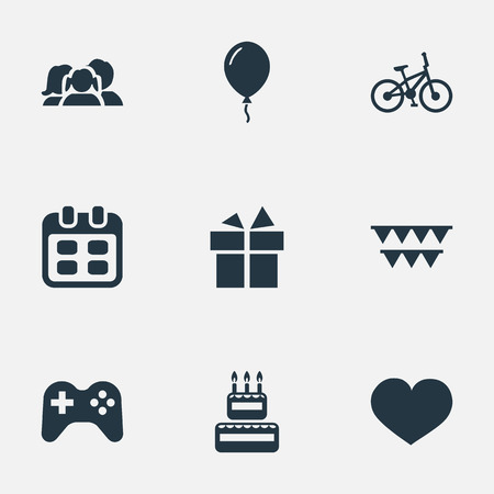 Vector Illustration Set Of Simple Celebration Icons. Elements Soul, Ribbon, Domestic And Other Synonyms Prize, Decorations And Soul. Illustration