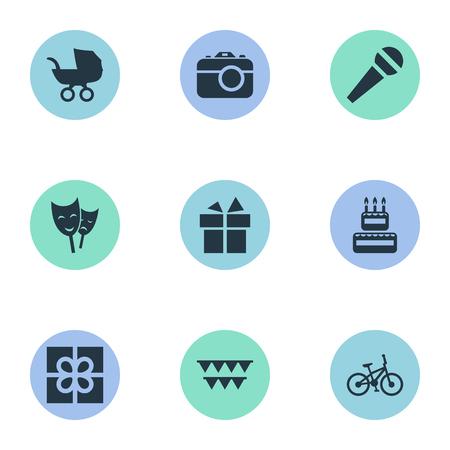 単純な休日のアイコンのベクトル イラスト セット。要素乳母車、マスク、カメラおよび他の類義語装飾プレゼントと写真撮影。