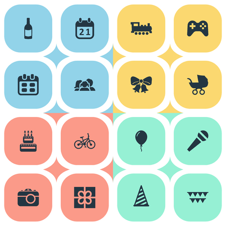 Vector Illustration Set Of Simple Holiday Icons. Elements Box, Beverage, Game And Other Synonyms Schedule, Cake And Domestic. Illustration