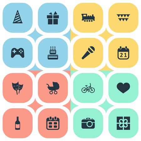 Vector Illustration Set Of Simple Birthday Icons. Elements Ribbon, Special Day, Days And Other Synonyms Steam, History And Prize. Illustration
