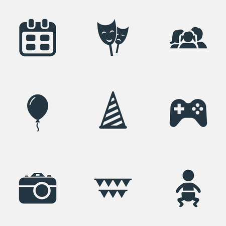 Vector Illustration Set Of Simple Birthday Icons. Elements Aerostat, Game, Days And Other Synonyms Family, Infant And Flags.