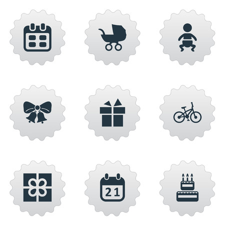 Vector Illustration Set Of Simple Celebration Icons. Elements Days, Bicycle, Infant And Other Synonyms Sport, Day And Baby. Ilustração