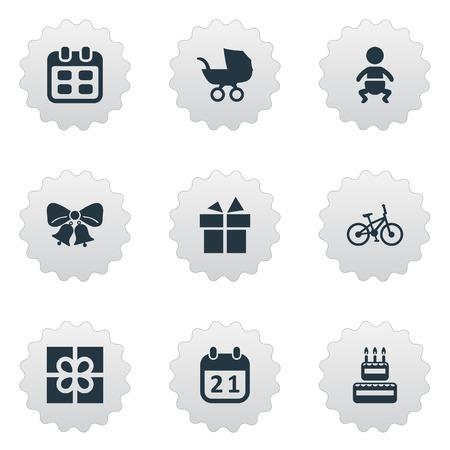Vectorillustratiereeks Eenvoudige Vieringspictogrammen. Elementen dagen, fiets, baby en andere synoniemen Sport, dag en baby.