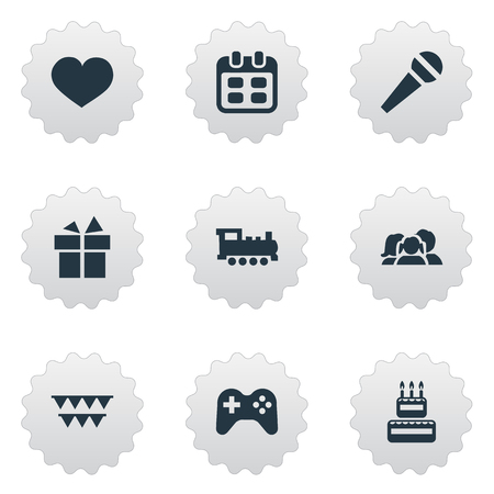 Vector Illustration Set Of Simple Celebration Icons. Elements Speech, Decorations;, Ribbon And Other Synonyms Train, Play And Confectionery.