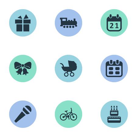 Illustration vectorielle définie des icônes simples de célébration. Éléments de confiserie, résonner, landau et autres synonymes jours, bébé et vélo. Banque d'images - 77916981