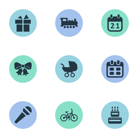 Vector Illustration Set Of Simple Celebration Icons. Elements Confectionery, Resonate, Baby Carriage And Other Synonyms Days, Baby And Bike.