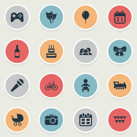 chronology: Vector Illustration Set Of Simple Celebration Icons. Elements Beverage, Confectionery, Game And Other Synonyms Resonate, Sweetmeat And Speech.